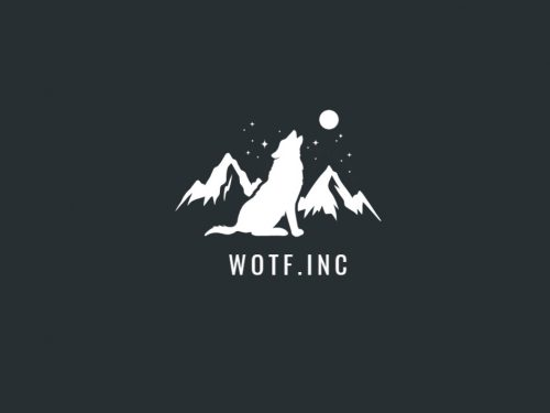 Awesome Wotf Symbol in Moutain Logo